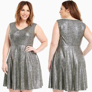 Torrid Metallic Foil Skater Dress